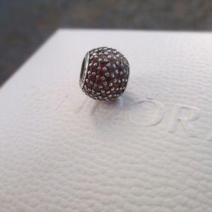 Pandora  791051CZR  Pave Lights Red CZ bead charm